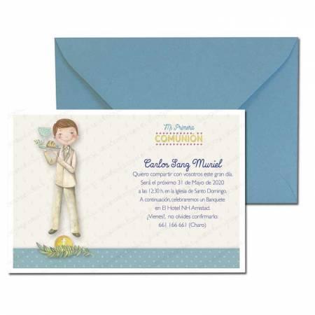 Invitación Primera Comunión más sobre azul, niño con bandeja con el pan y el vino