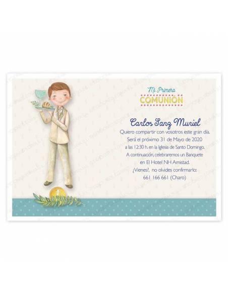 Invitación niño Primera Comunión, decorada con un elegante niño con una bandeja