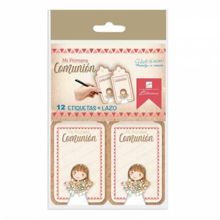 Bolsa con 12 tarjetas  y lazos para personalizar los detalles de los invitados. Niña con ramo de flores