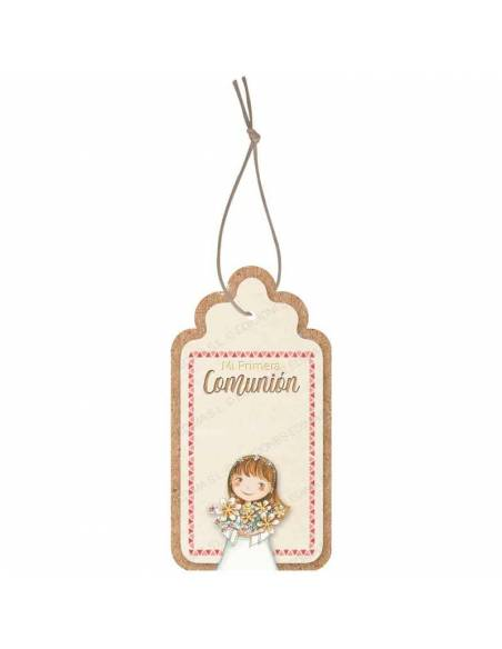 Etiquetas para personalizar los detalles de comunión. Niña con ramo de flores