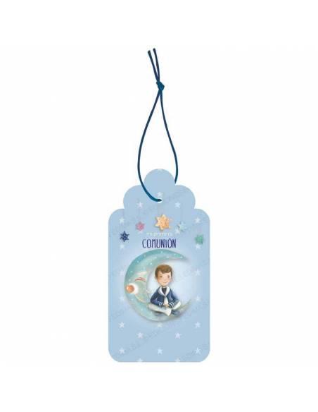 Etiquetas para personalizar los detalles de comunión. Niño marinero sentado en la luna