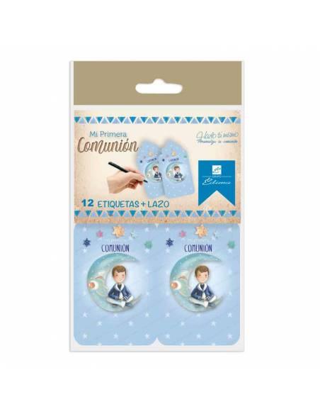 Bolsa con 12 tarjetas  y lazos para personalizar los detalles de los invitados. Niño marinero