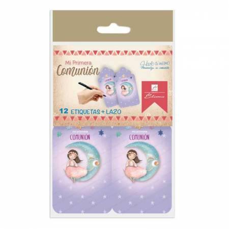 Bolsa con 12 tarjetas  y lazos para personalizar los detalles de los invitados. Niña sentada en la luna