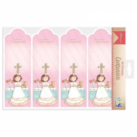 Pack 20 marcapaginas para comunión, niña en el altar