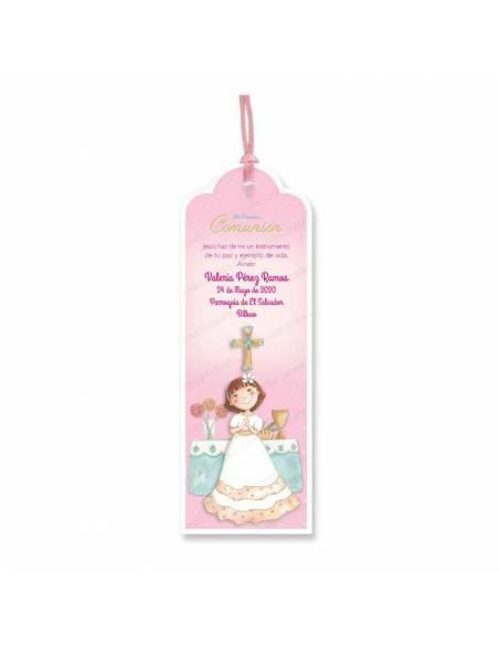Marcapaginas para comunión, niña en el altar