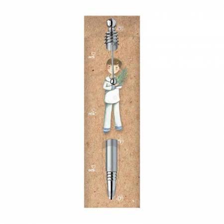Funda comunión para bolígrafo, niño con rama de olivo, no incluye el bolígrafo.