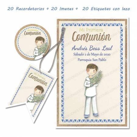 Pack con 20 recordatorios, 20 imanes y 20 etiquetas de comunión, Niño con rama de olivo