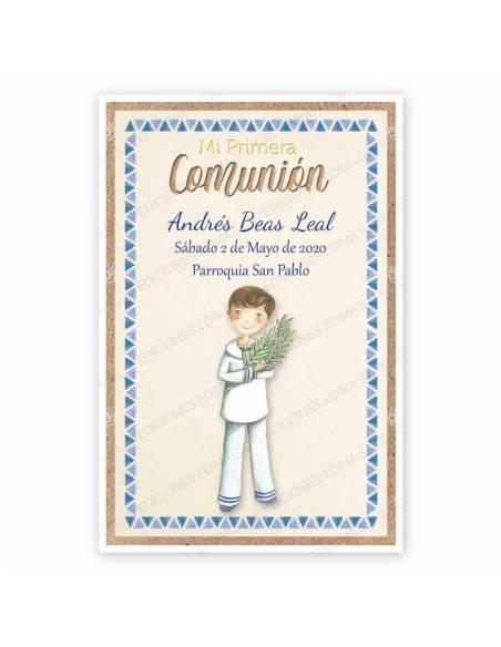 Recordatorio para comunión con un niño con rama de olivo