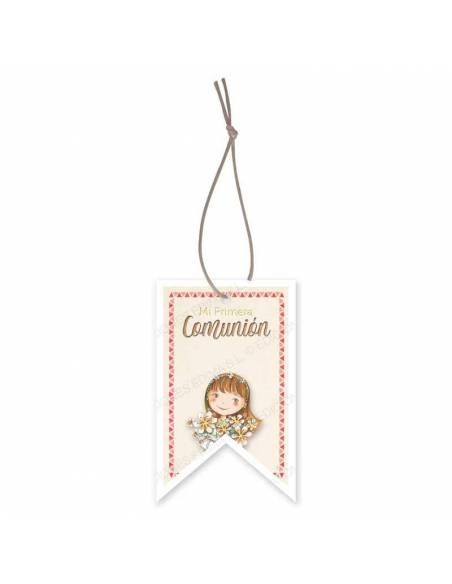 Etiqueta para los detalles de comunión decorada con una niña con un ramo de flores