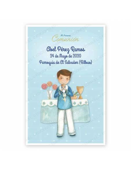 Recordatorio para comunión con un niño marinero en el altar