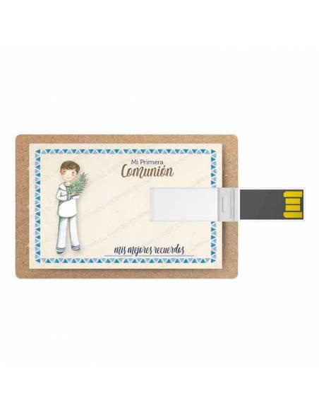 Tarjeta memoria USB, 16 GB, para comunión. Niño marinero con rama de olivo