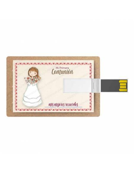 Tarjeta memoria USB, 16 GB, para comunión. Niña con ramo de flores