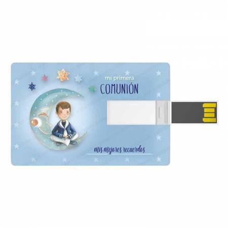 Tarjeta memoria USB, 16 GB, para comunión. Niño marinero sentado en la luna