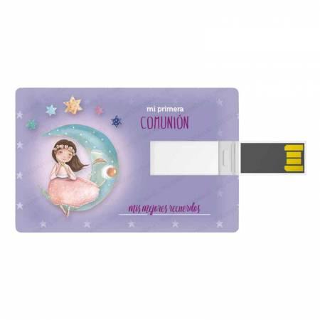 Tarjeta memoria USB, 16 GB, para comunión. Niña vestido rosa, sentada en la luna