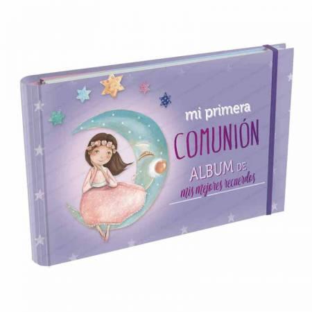 Álbum para recuerdo de 1ª Comunión, Niña con vestido rosa en la luna