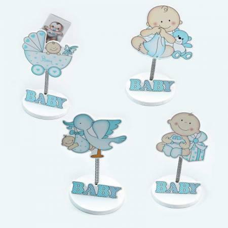 Clip sujeta fotos bebé en madera azul, recuerdos para bautizo