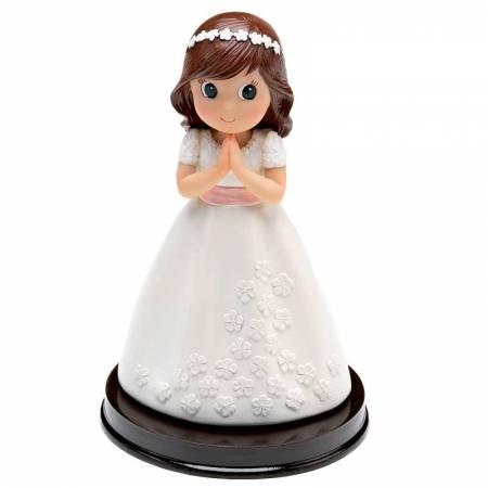 Muñeco para la tarta Primera Comunión vestido con flores en relieve