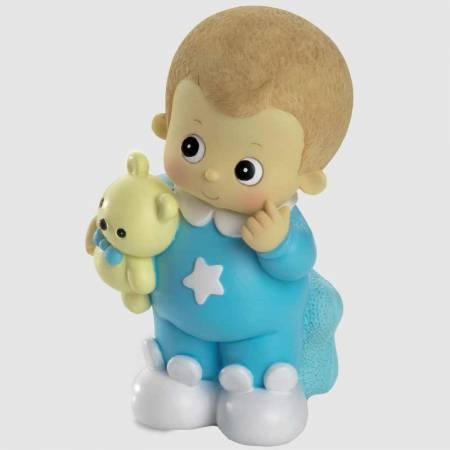 Figura hucha para pastel de bautizo, bebé niño pijama azul.
