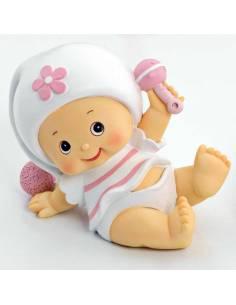 Figura hucha para pastel de bautizo, bebé niña pijama blanco a gatas.