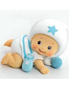 Figura hucha para pastel de bautizo, bebé niño pijama blanco a gatas.