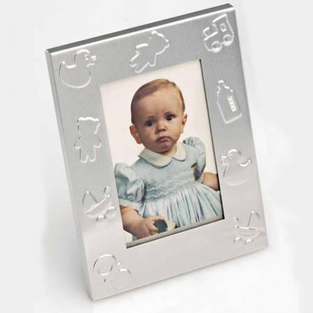 Marco de fotos de metal para bautizo, recuerdos para invitados