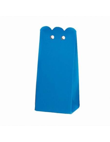 Caja azul rectangular con ondas, para los regalos de los invitados.