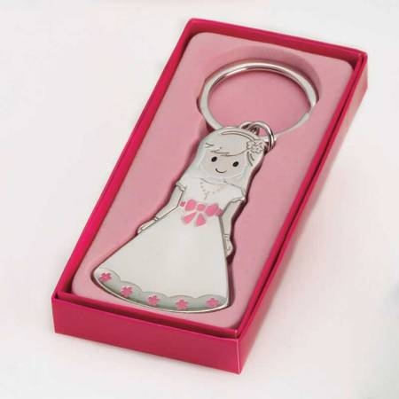 Llavero niña vestida de Comunión con vestido en blanco y lazo delantero en rosa