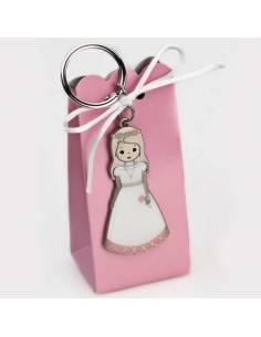 Llavero metal mate con vestido blanco lacado niña en caja semialta con peladillas
