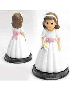 Muñeco para la tarta Primera Comunión niña con margarita en la mano