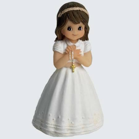 Figurita niña Comunión con vestido blanco y fajín y rosario