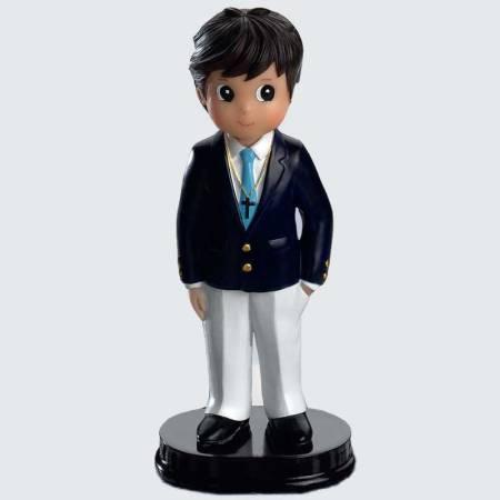Figurita niño Primera Comunión pantalón blanco y chaqueta azul, con botones dorados y corbata azulona.