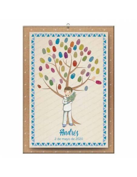 Lamina para huellas, niño comunión con rama de olivo