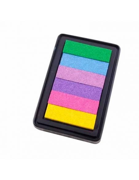 Almohadilla de tintas, con diferentes colores, para la decoración del arbol de huellas.