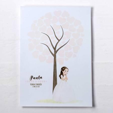 Árbol de huellas para los invitados de la Comunión, niña con corana de flores.