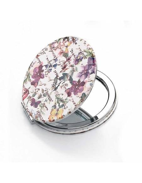 Espejo doble, estampado con flores. Simil piel