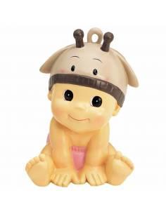 Figura hucha para decorar la tarta de bautizo que presenta un bebé pañal rosa y  con gorrito jirafa