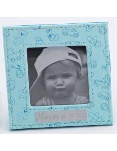 Marco de fotos azul, recuerdo para bautizo.