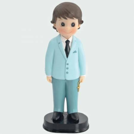 Muñeco para la tarta Primera Comunión con traje azul clarito