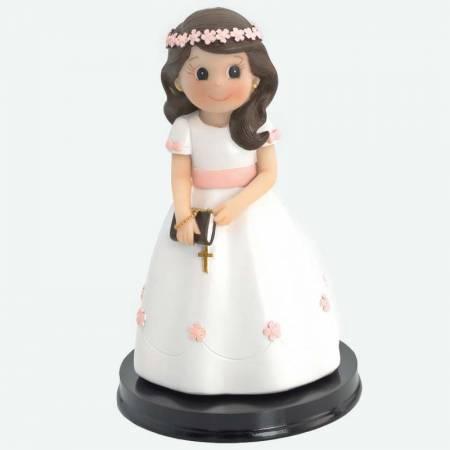 Muñeco para la tarta Primera Comunión niña con biblia y rosario corona flores rosas