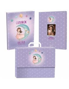 Libro personalizado para Primera Comunión con maletín, niña.