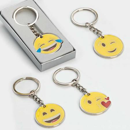 Llavero emoji en caja plateada, 4 modelos. Recuerdos para invitados