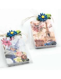 Espejo para bolso doble, decorado con la torre Eiffel