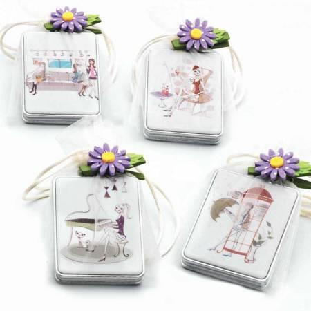 Espejo para bolso doble, rectangular, chicas en bolsa y con tarjeta personalizada