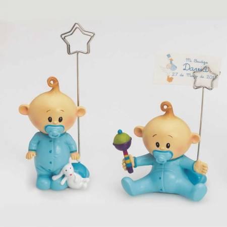 Bebé niño con chupete azul en dos diseños. Figura de resina. Recuerdo para bautizo