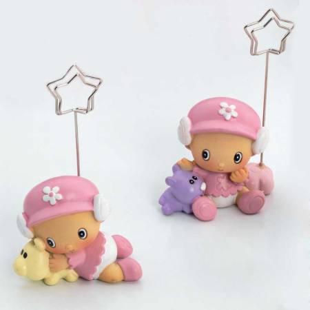 Portafotos niña bebé gorrita rosa. Recuerdos para bautizo y detalles