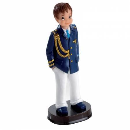 Muñeco para la tarta Primera Comunión niño pantalon blanco casaca en azul con cordones dorados