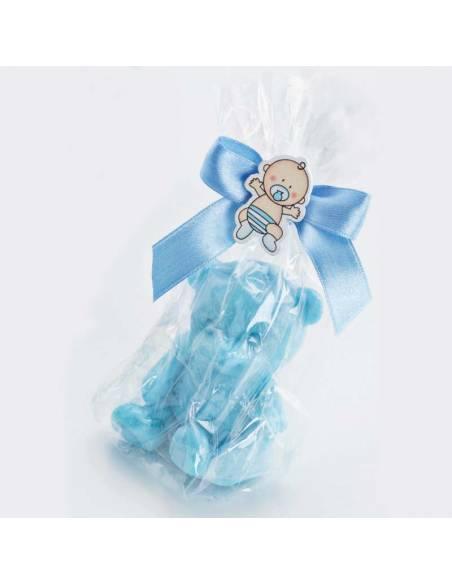 Jabones con la forma de ositos, detalles para bautizo en azul