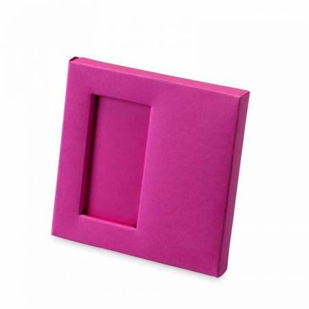 Caja para 2 napolitanas fucsia de 10x10x1,5 cm.