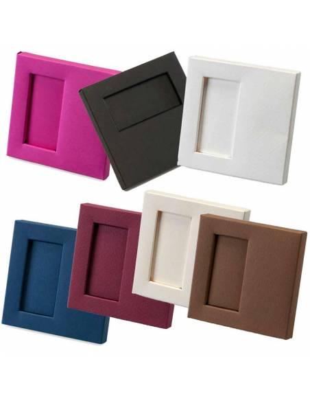 Cajas para 2 napolitanas, medidas: 10x10x1,5 cm. Disponible en varios colores.