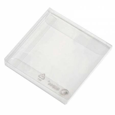 Estuche transparente para 4 napolitanas, medida:  7 x 7 x 0,7 cm